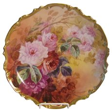 Stunning Antique Limoges France Hand Painted Victorian Roses Wall Plaque Charger Still Life China Painting Artist Signed