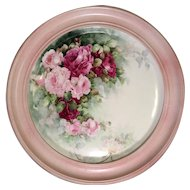 """VICTORIAN FRENCH HAND PAINTED ROSES"" Gorgeous Limoges France Framed Plaque ~ Tray ~ Charger ~ Magnificent Art Heirloom in Beautiful Frame ~ Artist Signed 1909"