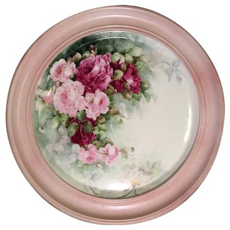 """""""VICTORIAN FRENCH HAND PAINTED ROSES"""" Gorgeous Limoges France Framed Plaque ~ Tray ~ Charger ~ Magnificent Art Heirloom in Beautiful Frame ~ Artist Signed 1909"""