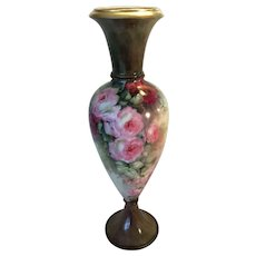 Absolutely Stunning Rare Beauty ~ Gorgeous Victorian Limoges France Urn Vase Exceptional One-of-a-kind Hand Painted Roses Fine Porcelain Heirloom Treasure Circa 1899