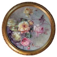 "Master China Painter Franz Bischoff Museum Quality Hand Painted Limoges France Antique French Floral Painting on Porcelain ~ Framed Plaque ~ Painted by the "" King of Roses"" Masterpiece Art Work Still Life Painting Breathtaking Roses Circa 1900"