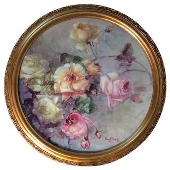 """Master China Painter Franz Bischoff Museum Quality Hand Painted Limoges France Antique French Floral Painting on Porcelain ~ Framed Plaque ~ Painted by the """" King of Roses"""" Masterpiece Art Work Still Life Painting Breathtaking Roses Circa 1900"""