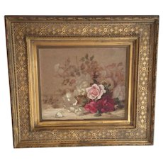 E Almond Withrow (1858-1928) Sill Life of Roses Oil Painting on London Oil Sketching Board