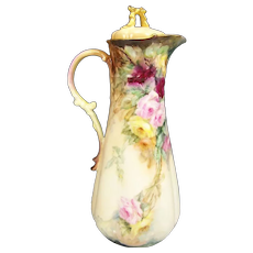 """Absolutely Magnificent Turn-of-the-Century VICTORIAN MASTERPIECE Exquisite and Superbly Hand Painted Antique Limoges Chocolate Pot ~ Gorgeous Roses Artist Signed """"Wylip"""" circa 1900"""