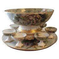 "Gorgeous Antique T&V Limoges France Hand Painted Grapes Porcelain Punch Bowl With Matching Plinth/Pedestal/Base And Matching 18"" Tray ~ Victorian Masterpiece Heirloom Treasure ~ Circa 1906"