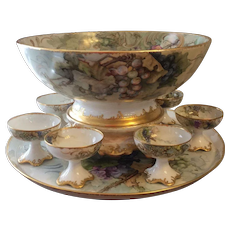 """Gorgeous Antique T&V Limoges France Hand Painted Grapes Porcelain Punch Bowl With Matching Plinth/Pedestal/Base And Matching 18"""" Tray ~ Victorian Masterpiece Heirloom Treasure ~ Circa 1906"""