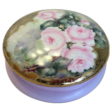"""Gorgeous Limoges France Outstanding Large 8"""" Diameter French Porcelain """"Cotton Candy Pink"""" Jewel Box Powder Dresser Jar with Gorgeous Hand Painted Roses Circa 1900"""