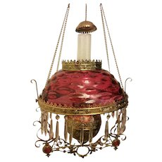 Beautiful Victorian Bradley and Hubbard Jeweled Frame Hanging Library Kerosene Oil Lamp with Cranberry Bulls Eye Shade