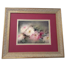 """Stunning Rare Beauty ~ Antique Hand Painted T&V Limoges Framed Porcelain Tile ~ Breathtaking ROSES ~ Museum Quality Masterpiece Still Life Painting ~ One-of-a-Kind Floral French Painting on Porcelain ~ Artist Signed """"Sara Wood Safford"""""""