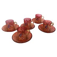 Set of Five Demitasse Cups and Saucers Antique Cranberry Moser Bohemian Art Nouveau Glass ~ Decorated Enamel and Gold ~ 19 Century