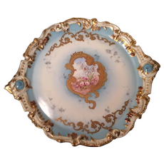 Beautiful Antique Limoges Fine Art Porcelain Cake Plate ~ Serving Tea Plate ~ Vanity Dresser Tray ~ Hand Painted Flowers ~ Exceptional Scrolled Gold Paste Work