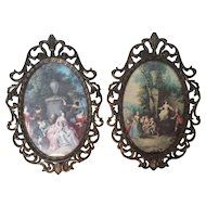 Beautiful Italian Pair of Vintage Ornate Oval Metal Picture Frames ~ Made in Italy ~ Beautiful Art Print Courtship Scenes