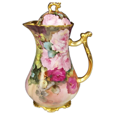 Gorgeous Victorian Pink Roses Limoges Antique Hand Painted Chocolate Pot ~ Signed by BLANCHE LENZI Norristown PA Respected Talented Favorite of All Victorian Roses Artists Original Handpainted Floral Artwork on French Porcelain