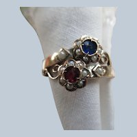 Antique Seed Pearl and Paste Floral Ring 10K