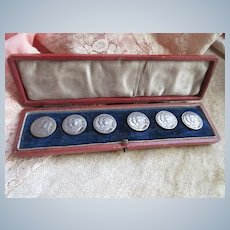Antique Cased Set of Sterling Buttons Edward V11 English 1902