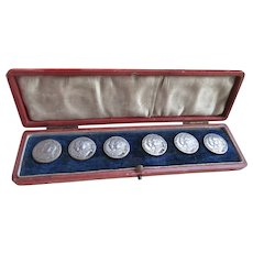 Antique Cased Set of Sterling Buttons Edward V11 English 1902