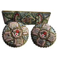 Vintage 20s 30s Italian Mosaic Pin and Earrings