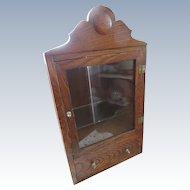 Antique Medicine Cabinet Curio Oak Wall Cabinet