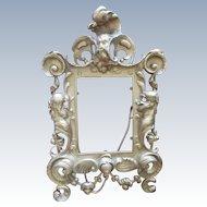 Victorian Brass Rococo Standing Picture Frame Wind God Cherubs