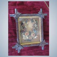 Victorian Diorama Framed Horse Shoe Seed Wreath Shadow Box Folk Art