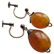 Vintage Amber Drop Screw Back Earrings