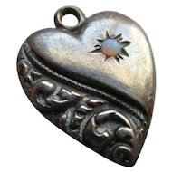 Vintage 30s Sterling Opal Puffy Heart Charm