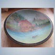 Antique Painted Bowl Scenic Nautical Scene