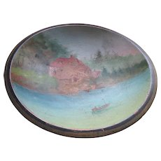 Antique Painted Bowl Scenic Nautical Scene