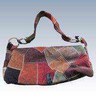 Vintage 90s Great American Leatherworks Patchwork Handbag  Bohemian Fashion