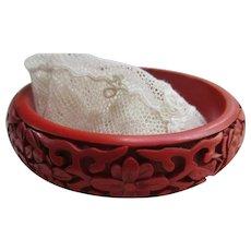 Vintage Carved Cinnabar Bangle Bracelet Floral Motif