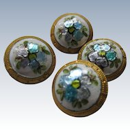 Victorian French Enameled Buttons Set Of Four Gilded Floral