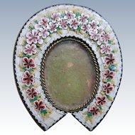 Antique Victorian Micro Mosaic Floral Horseshoe Frame