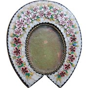 Antique Victorian Micro Mosaic Floral Horseshoe Frame