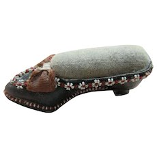 Victorian Pin Cushion Figural Leather Beaded Shoe  Sewing