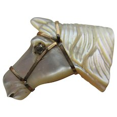 Antique Mother Of Pearl Horse Button