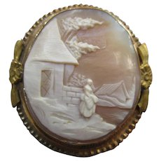 Antique Rebecca At The Well Cameo Brooch in Gold Fill
