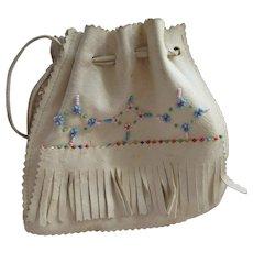 Older Vintage Soft Leather Beaded Purse Native American