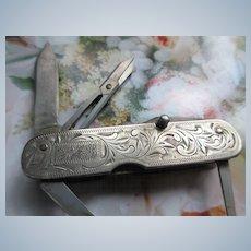 Vintage Sterling Folding Pocket Knife Beautiful Engravings