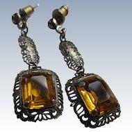 Vintage Deco Filigree Crystal Pierced Earrings