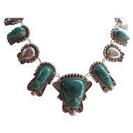 Vintage Mexican Silver Pre Eagle Mask Necklace