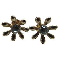 Antique Edwardian 10K Paste Pierced Earrings