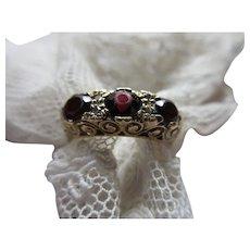 Antique English 9ct Garnet Trilogy Ring