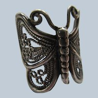 Vintage Sterling Silver Filigree Butterfly Ring