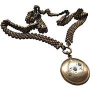 Antique Mesh Collar Chain Necklace with Jeweled Fob Pendant