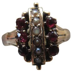 Antique 10K Garnet and Seed Pearl Ring Size 8.75