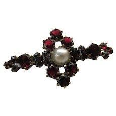 Antique  Garnet Cultured Pearl Pin - Red Tag Sale Item