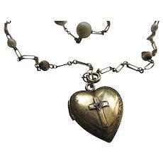 Vintage Heart Locket Necklace in Gold Fill  Religious Locket