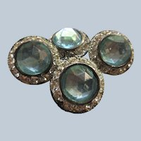 Vintage Faceted Glass Buttons Silver Toned Metal