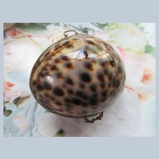 Vintage Cowry Shell Trinket Box   Rosary Holder  Coin Purse