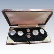 Older Vintage Mother of Pearl Cufflink Tuxedo Button Set (Original Box)